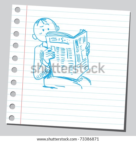 Sketchy illustration of a man reading newspaper - stock vector