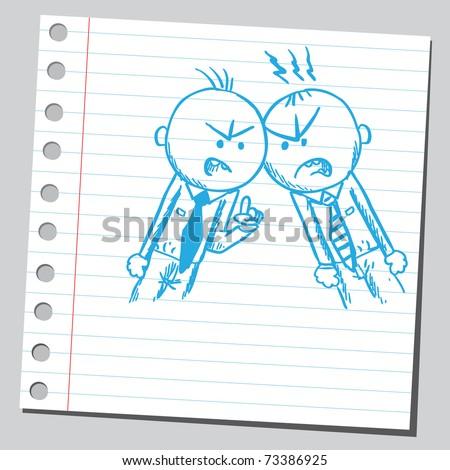 Sketchy illustration of a men arguing - stock vector