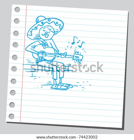 Sketchy illustration of a mexican playing guitar - stock vector
