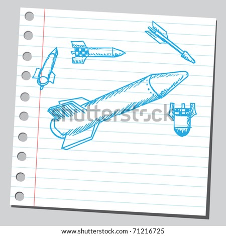 Sketchy illustration of a missiles - stock vector