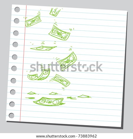 Sketchy illustration of a money falling - stock vector