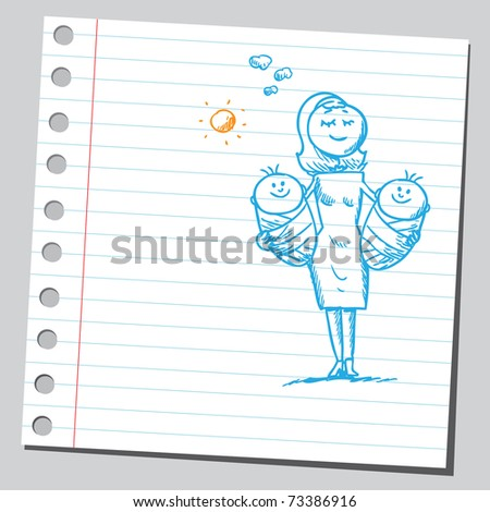 Sketchy illustration of a mother holding twins