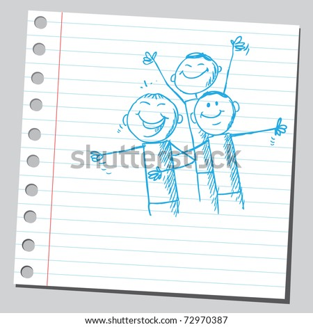 Sketchy illustration of a people laughing - stock vector