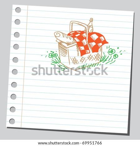 Sketchy illustration of a picnic basket - stock vector