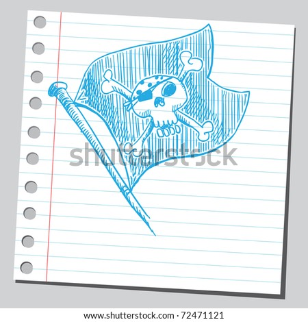 Sketchy illustration of a pirate's flag - stock vector