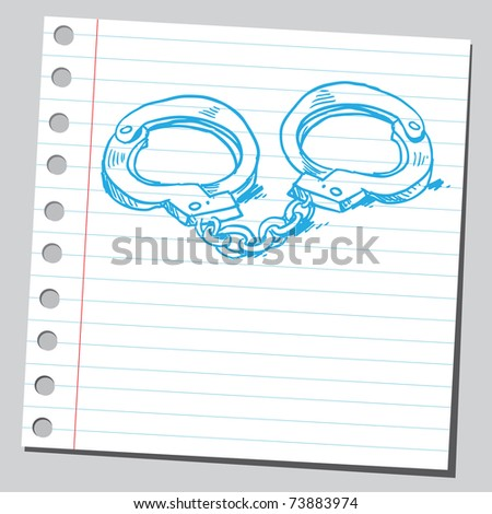 Sketchy illustration of a police handcuffs - stock vector