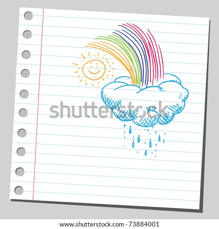 Sketchy illustration of a rainbow,sun and cloud - stock vector