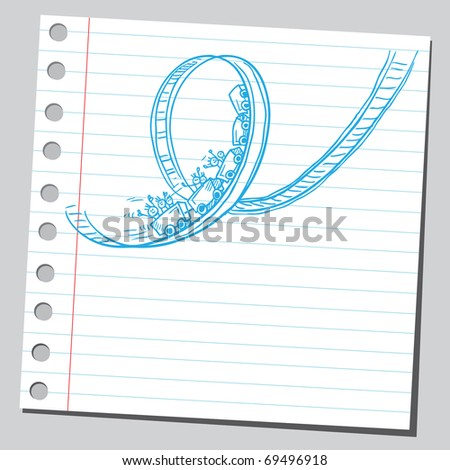 Sketchy illustration of a rollercoaster - stock vector