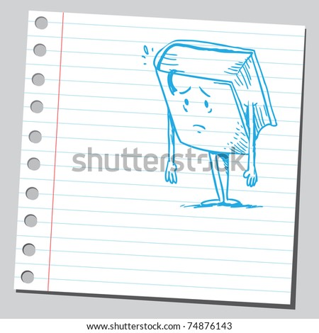 Sketchy illustration of a sad book - stock vector