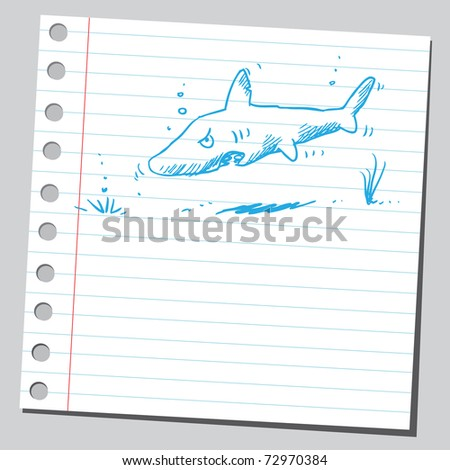 Sketchy illustration of a shark - stock vector