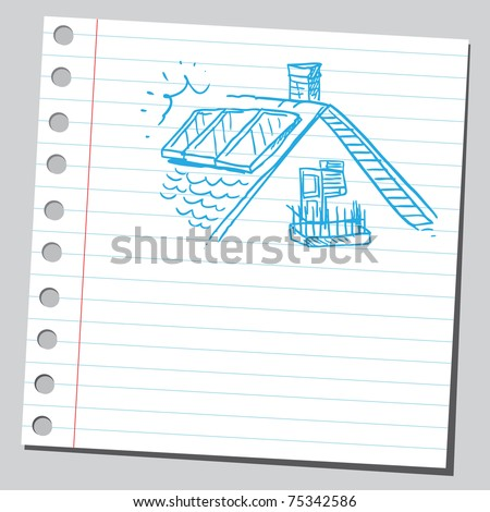 Sketchy illustration of a solar panels on a roof - stock vector
