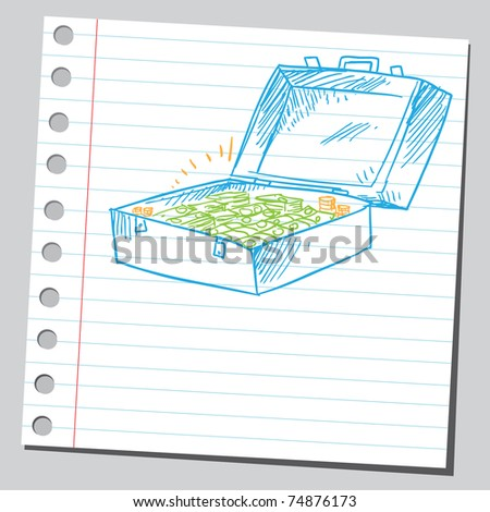 Sketchy illustration of a suitcase full of money - stock vector
