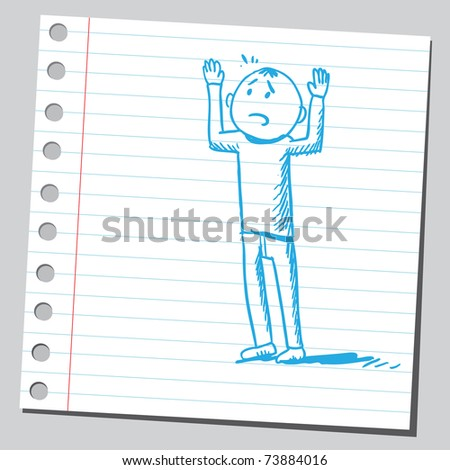 Sketchy illustration of a surrender man - stock vector