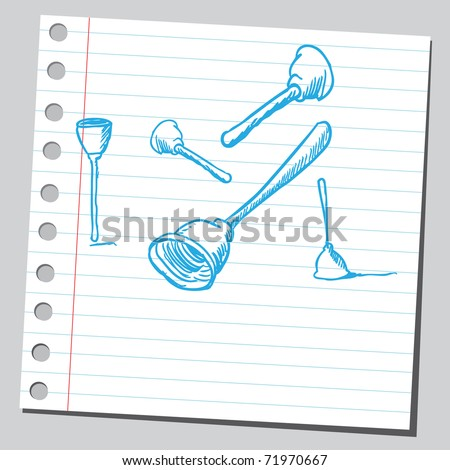 Sketchy illustration of a toilet plunger - stock vector
