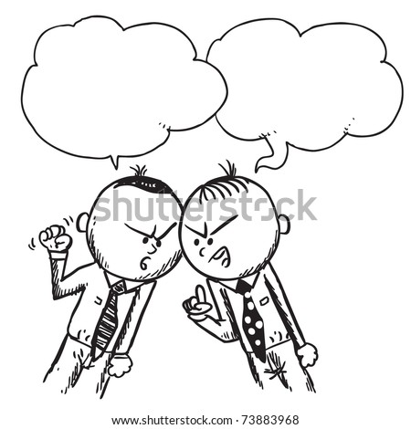 Sketchy illustration of a two businessmen arguing - stock vector