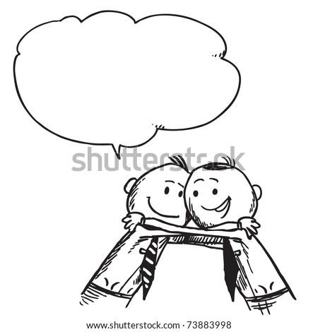 Sketchy illustration of a two businessmen hugging - stock vector
