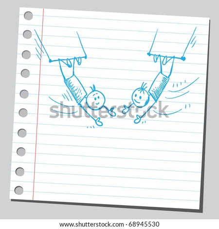 Sketchy illustration of a two circus acrobats - stock vector