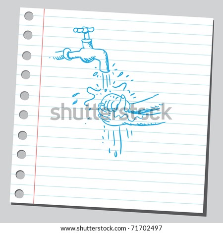 Sketchy illustration of a washing hands scene - stock vector