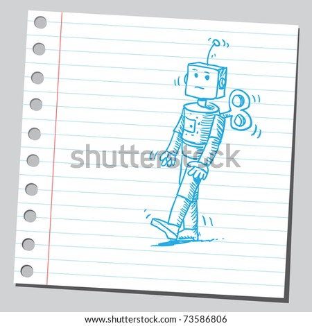 Sketchy illustration of a windup toy - stock vector