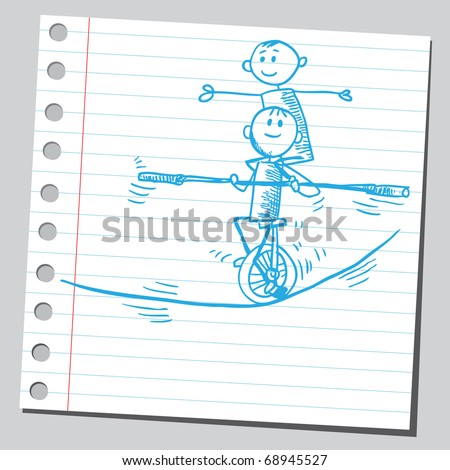 Sketchy illustration of an acrobats on a tightrope - stock vector