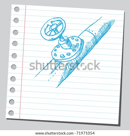 Sketchy illustration of an old pipe-valve - stock vector