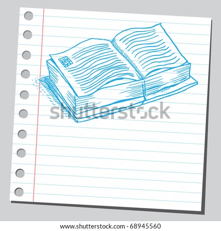 Sketchy illustration of an open book - stock vector