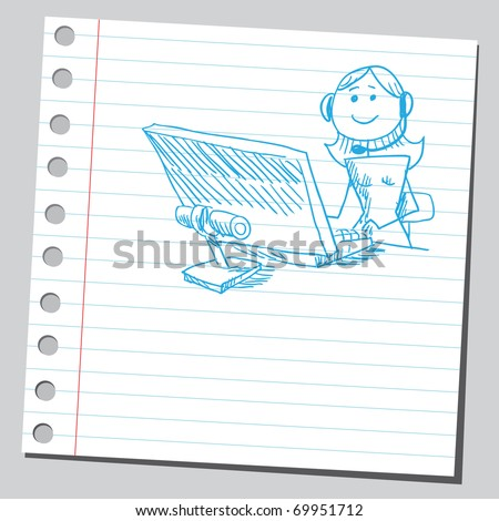 Sketchy illustration of an operator girl - stock vector