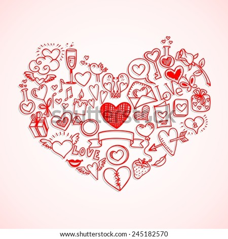 sketchy love and hearts doodles, vector illustration - stock vector