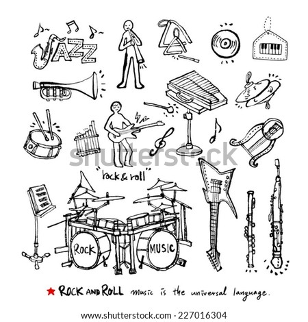 Sketchy music illustrations / Set of Music Instruments - hand drawn in vector - stock vector