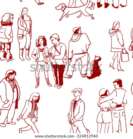 Sketchy people seamless pattern - stock vector
