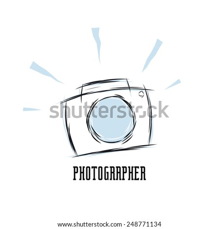 sketchy photographer sign - stock vector