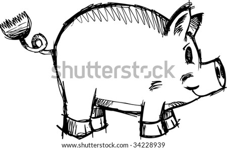 Sketchy Pig Vector Illustration - stock vector