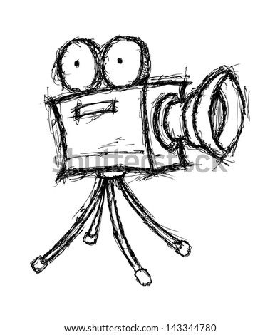 sketchy projector in doodle style - stock vector