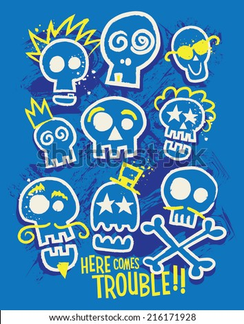 Sketchy Skull Boys Tshirt Print - Here Comes Trouble!! - stock vector
