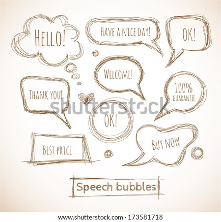 Sketchy speech and thought bubbles hand-drawn with ink. Vector illustration.  - stock vector
