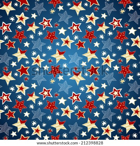 Sketchy Stars Seamless Repeat Pattern Illustration. American stars flag pattern, abstract seamless texture; vector art illustration