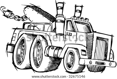 Sketchy Tow Truck Vector Illustration