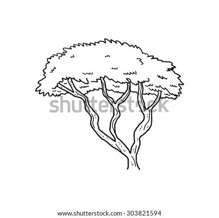 sketchy tree line art - stock vector