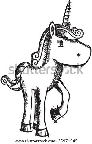 Sketchy Unicorn vector - stock vector