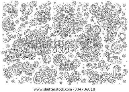 Sketchy vector hand drawn Doodle cartoon set of curls and swirls decorative elements - stock vector