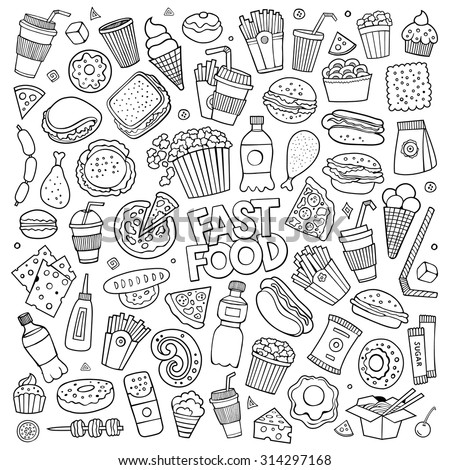 Sketchy vector hand drawn Doodle cartoon set of objects and symbols on the fast food theme - stock vector