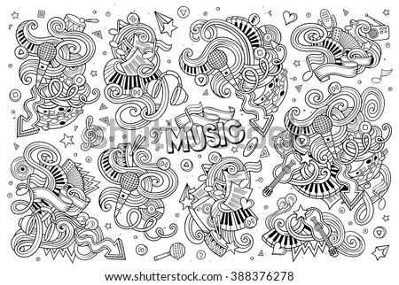 Sketchy vector hand drawn doodles cartoon set of Music objects and symbols - stock vector