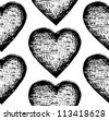 Sketchy vector seamless pattern with hearts - stock vector