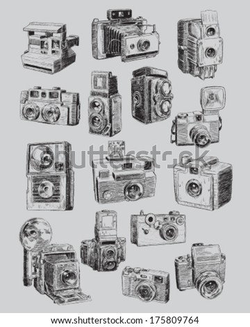 Sketchy Vintage Camera Set - stock vector