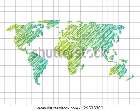 Sketchy World map - vector illustration - stock vector