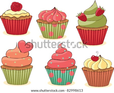 Sketchy yummy cupcakes set. CMYK with global colors vector illustration. - stock vector