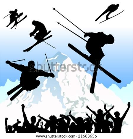 ski - stock vector