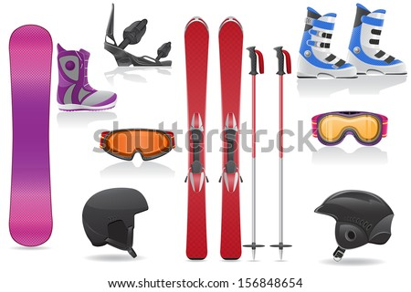 ski and snowboarding set icons equipment vector illustration isolated on white background - stock vector