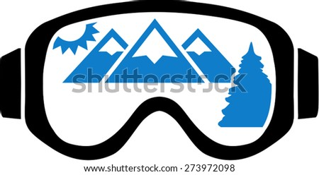 Ski Goggles With Mountain View - stock vector