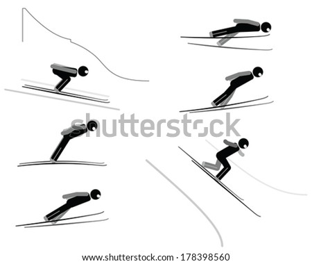 Ski jumping - pictogram set - stock vector